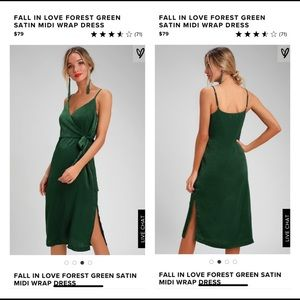 Fall in Love Forest Green Satin Midi Wrap Dress